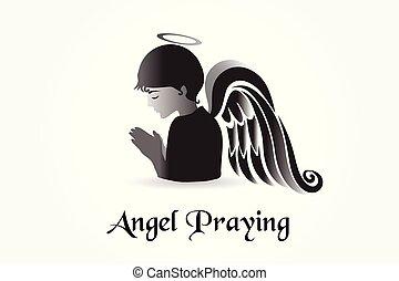 Angel betet Logo-Vektor.