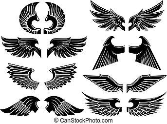 Angelflügel, schwarze Kräutersymbole