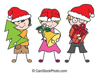 angezogene , claus., kinder, santa