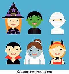 angezogene , hallowe, avatar, kinder