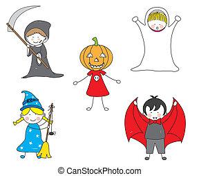angezogene , halloween, kinder