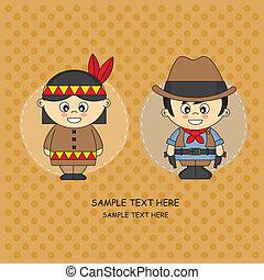 angezogene , indi, kinder, cowboy