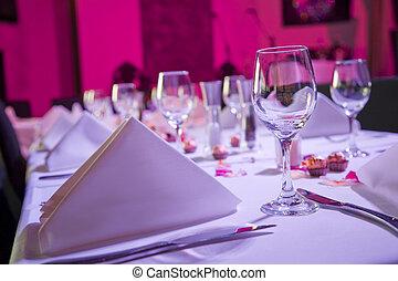 angezogene , tisch, auf, festempfang, wedding