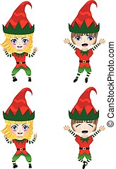 angezogene , weihnachtshelfer, kostüm, kinder