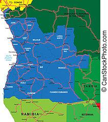 angola, landkarte, politisch