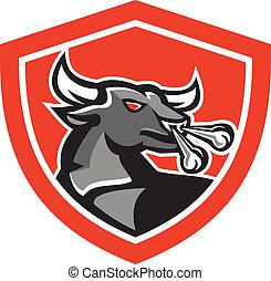 Angry Bull Head Schild Retro.