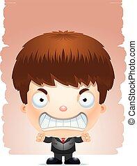 Angry Cartoon Boy in einem Anzug.