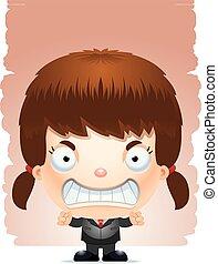 Angry Cartoon-Mädchen in einem Anzug.