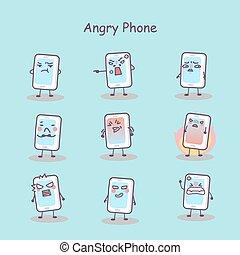 Angry Cartoon Smartphone.