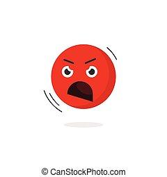 Angry Emoticon Gesicht Vektor Icon isoliert, schreien Emoji negative Emotion.