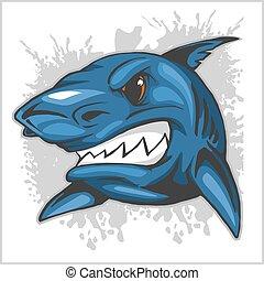 Angry Haikopf auf Grunge Hintergrund.