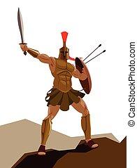 Angry spartanischer Krieger mit Rüstung und Hoplit-Schild mit Schwert.