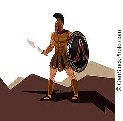 Angry spartanischer Krieger mit Rüstung und Hoplit-Schild mit Schwert