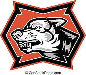 Angry Wolf Wildhund Retro.