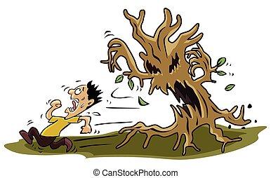 Angst ein Mann mit Baummonster.