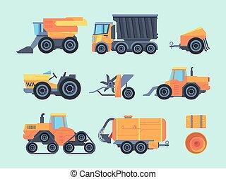 anhänger, korn, ernten, traktor, crops., dreschmaschine, konzern, set., landwirtschaftlich, seeder, flat., gelber , mechanisch, lastwagen, bauernhof, vektor, transportieren, automatisch, maschinen, spezialisiert, mechanismen, rasenmäher