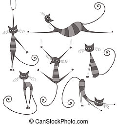 Anmutige graue, gestreifte Katzen für dein Design
