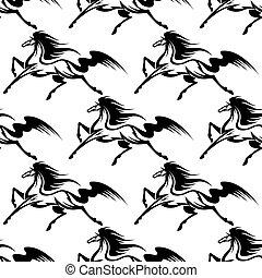 Anmutige schwarze Pferde nahtlos.