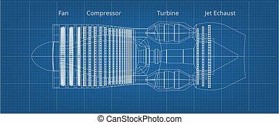 ansicht, düsentriebwerk, blaupause, gewerblich, seite, motorflugzeug