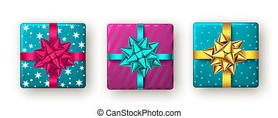 ansicht., geschenk, blauer kasten, goldenes, rosa, schleife, oberseite, geschenkband