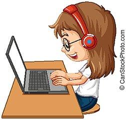 ansicht, hintergrund, tisch, m�dchen, weißes, seite, laptop