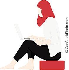 ansicht, seite, sitzen, laptop benutzend, frau