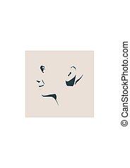 ansicht., silhouette., seite, kopf, gesicht