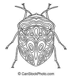 anti-stress, buch, färbung, vektor, hand-drawn, doodles., bedbug, picasso, erwachsene, käfer, illustration., linear, children., book.