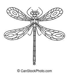 anti-stress, illustration., vektor, book., linear, beetle-insect, buch, kinder, färbung, libelle, erwachsene