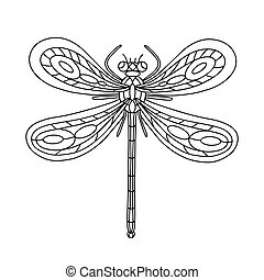 anti-stress, libelle, buch, färbung, vektor, hand-drawn, erwachsene, gekritzel, page., illustration., linear, children., beetle-insect, book.
