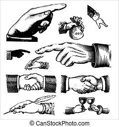 Antike Hände gravieren.