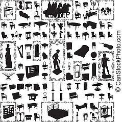 Antike Möbel, 100 Vektor