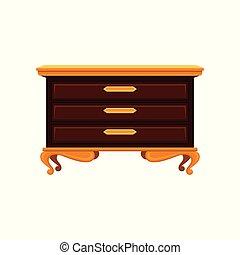Antike Schubladen mit goldenen Beinen, Griffen und Oberfläche. Altes Holzkommode. Vintage-Möbel. Flat Vektordesign