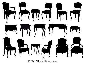 Antike Stühle und Tische, Vektor