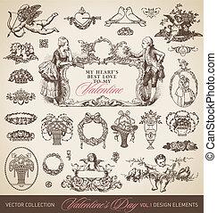 Antike Valentinskarten eingestellt (Vektor)