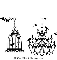 Antike Vogelkäfig und Kronleuchter