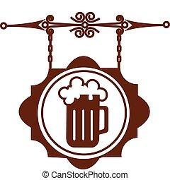 Antiker Straßenanzeiger von Bierhaus oder Bar, Vektor Illustration -1