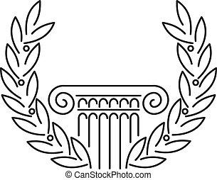 antikes , griechischer , spalte, lorbeer