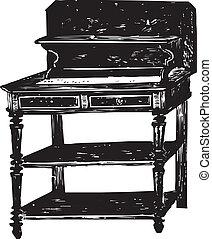 Antikes Holzbüro