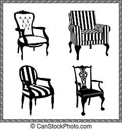 antikes , stühle, silhouetten, satz