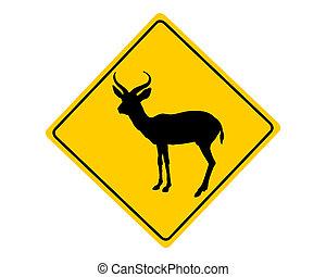 Antilopen-Warnzeichen.