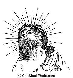 Antique Jesus Gravur (Vektor)