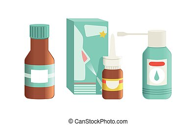 antiseptisch, medikation, abbildung, medikationen, healthcare, sprühen, sprühen, aerosol, karikatur, kehle, vektor, flaschen, satz, nasal