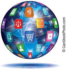 anwendung, concept., globe., icons., internet