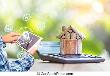 anwendung, estate., smartphone, suchen, kaufen, verkauf online, buchung, echte