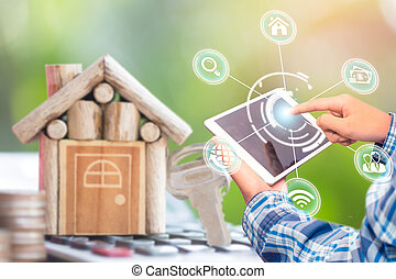 anwendung, online, suchen, smartphone, buchung, echte , estate., kaufen, verkauf