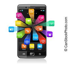 anwendung, touchscreen, smartphone, heiligenbilder