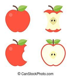 Apfel- und Apfelbisse-Icons, flaches Design.