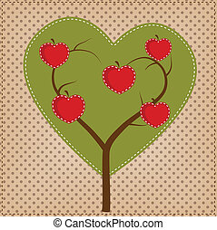 Apfelbaum in Form von Herz.