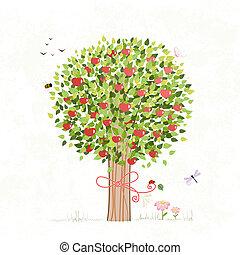 Apfelbaum mit Bogen für dein Design